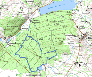 Reproduction par nos soins de la zone du projet de Center Parcs Le Rousset (carte © IGN)